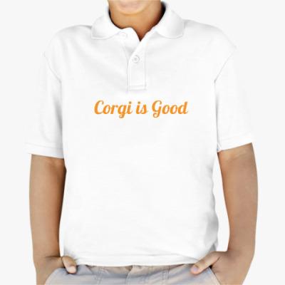 Детская рубашка поло Корги Шкодная, носяка сумасбродная!