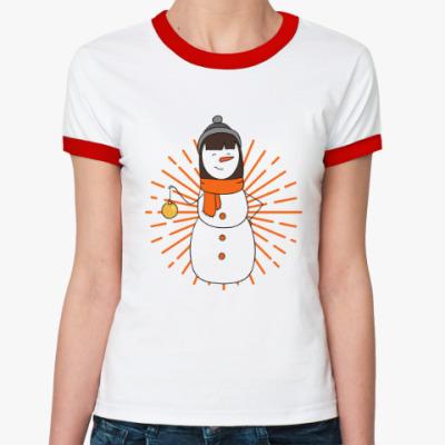 Женская футболка Ringer-T Девочка-снеговик