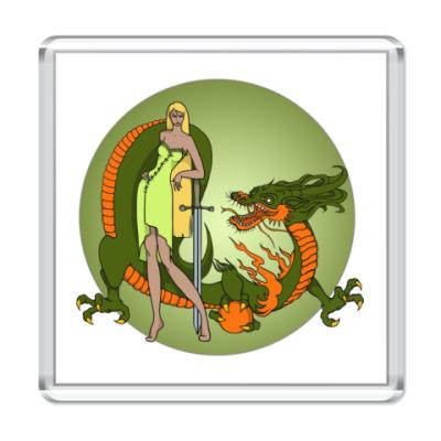 Магнит Девушка и дракон