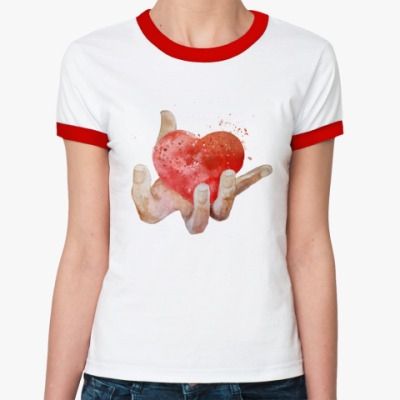 Женская футболка Ringer-T Сердце в руке, heart in hand