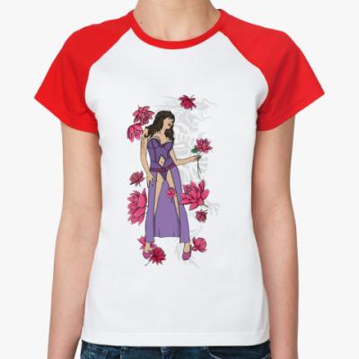 Женская футболка реглан Девушка лотосы