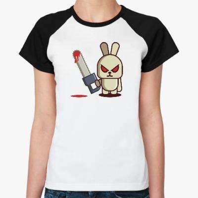 Женская футболка реглан Злой кролик с пилой