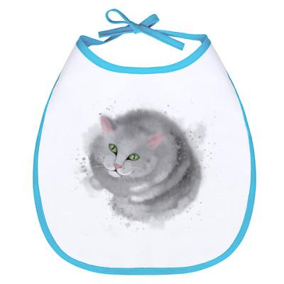 Слюнявчик Серый кот, кошка