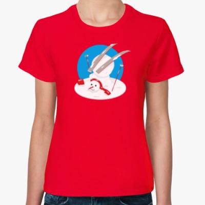 Женская футболка Неуклюжий снеговик Новый Год