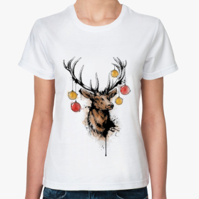 Классическая футболка новогодний олень