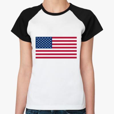 Женская футболка реглан  Флаг США