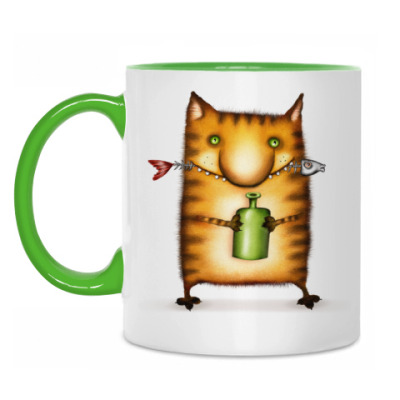 Кружка Кот с бутылкой