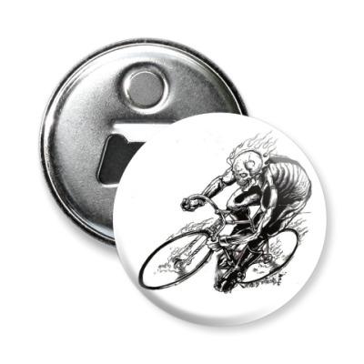Магнит-открывашка велосипедист