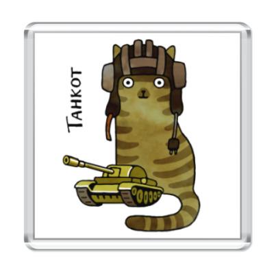 Магнит Танк и военный кот в шлеме