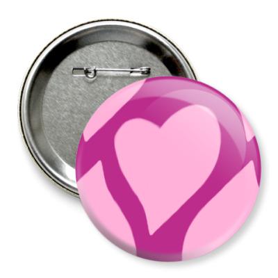 Значок 75мм  'LOVE' (Сердца)