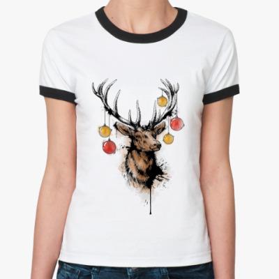 Женская футболка Ringer-T новогодний олень