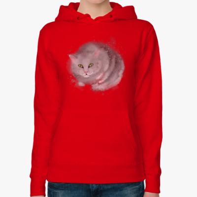 Женская толстовка худи Серый кот, кошка