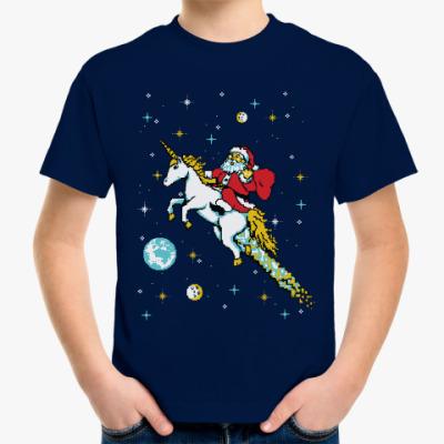 Детская футболка Санта и единорог