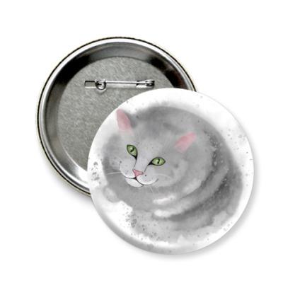 Значок 58мм Серый кот, кошка