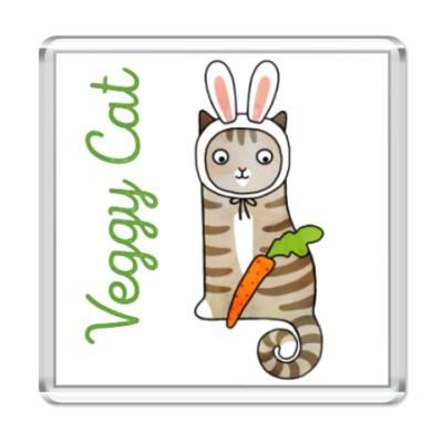 Магнит Кот заяц на диете и морковь