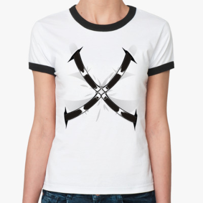 Женская футболка Ringer-T 'Bondage' фетиш