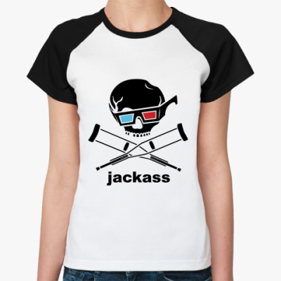 Женская футболка реглан  Jackass 3d