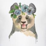 Панда в цветах