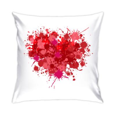 Подушка Сердце из брызг краски