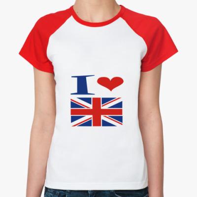 Женская футболка реглан Я люблю Англию