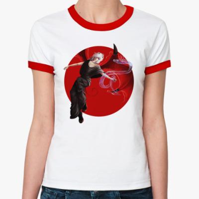Женская футболка Ringer-T демон