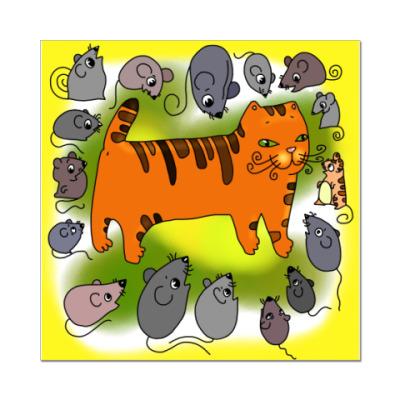 Наклейка (стикер) Кот и мыши