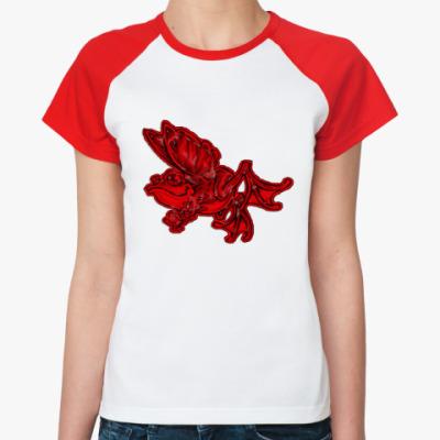 Женская футболка реглан  красный frog!!!