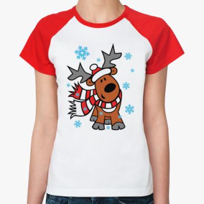 Женская футболка реглан Олень с шарфиком
