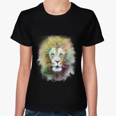 Женская футболка Лев, акварель