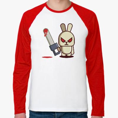 Футболка реглан с длинным рукавом Злой кролик с пилой