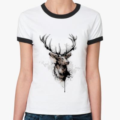 Женская футболка Ringer-T голова оленя