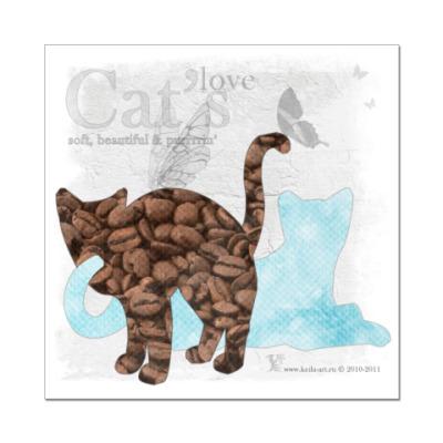 Наклейка (стикер)  Кофе и мята