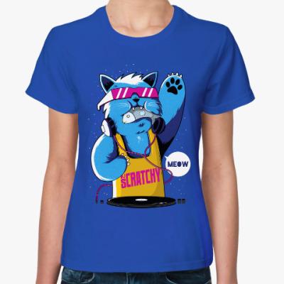 Женская футболка Кот-диджей