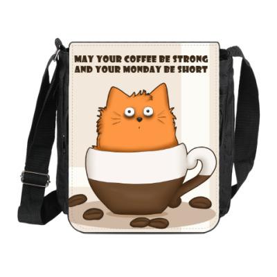 Сумка на плечо (мини-планшет) Кофейный кот