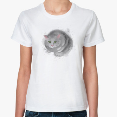 Классическая футболка Серый кот, кошка