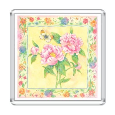Магнит  Цветы в рамке
