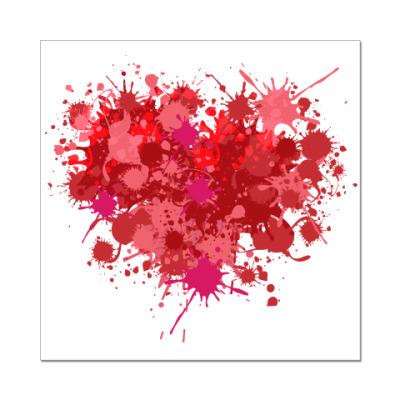 Наклейка (стикер) Сердце из брызг краски