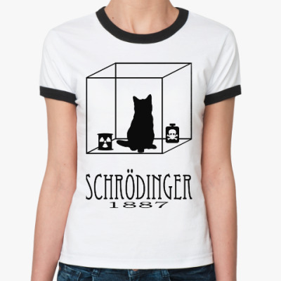 Женская футболка Ringer-T Кот Шрёдингера