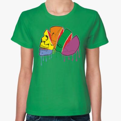 Женская футболка Цветной череп - странный фрукт