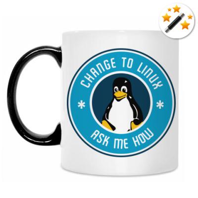 Кружка-хамелеон Change to Linux пингвин Tux