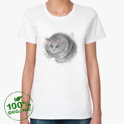 Женская футболка из органик-хлопка Серый кот, кошка