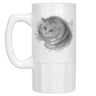 Пивная кружка Серый кот, кошка
