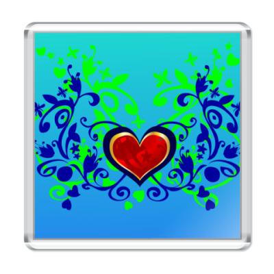 Магнит  Сердце в цветах