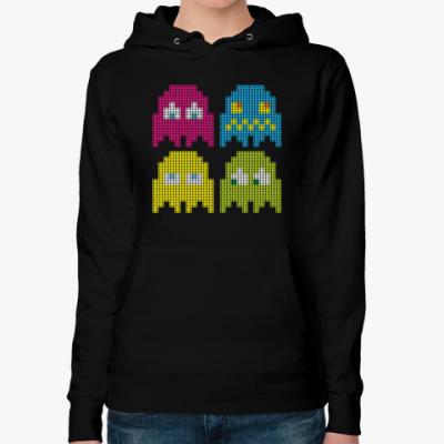Женская толстовка худи Pacman игра пиксели герои