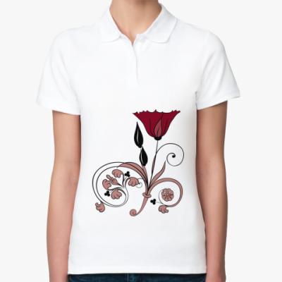 Женская рубашка поло  ЦВЕТОК