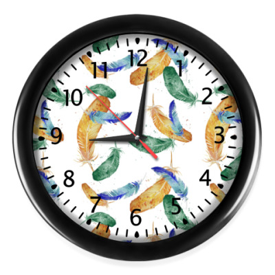 Настенные часы Узор Перья, бохо