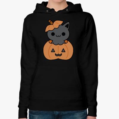 Женская толстовка худи Pumpkin Cat