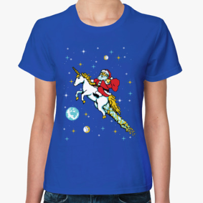Женская футболка Санта и единорог