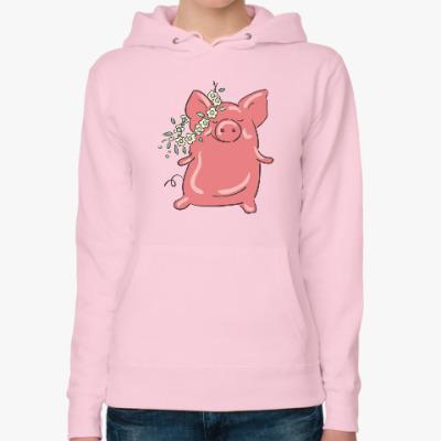 Женская толстовка худи Piggy Свинка Поросенок Мимими