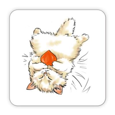 Костер (подставка под кружку) кот с сердцем